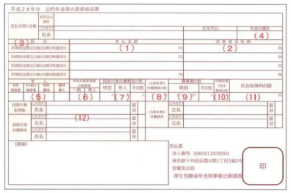 公的年金等の源泉徴収票(平成28年分)